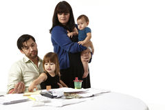 American Family struggling to pay bills Stock Images