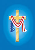 American Family Values. Christian Cross Draped with American Flag Royalty Free Stock Photography