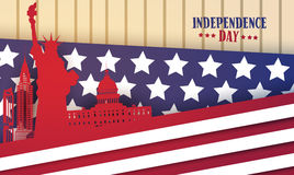 American Famouse Monuments Over Flag Background United States Independence Day Holiday Greeting Card Stock Photos