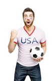 American fan holding a soccer ball celebrates on white background Stock Photo