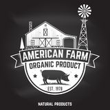 American Farm Badge or Label. Vector illustration. American Farm Badge or Label on the chalkboard. Vector illustration. Vintage typography design with pig Stock Photography