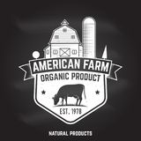 American Farm Badge or Label. Vector illustration. American Farm Badge or Label on the chalkboard. Vector illustration. Vintage typography design with cow and Royalty Free Stock Photography