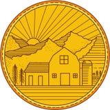 American Farm Barn House Mountain Circle Mono Line Stock Images