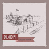American farm house, barn and pasture vector sketch. Royalty Free Stock Photo