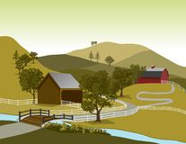 American Farm Scene. Illustration of a typical American farm scene with two barns Royalty Free Stock Photo