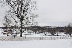 American farm in winter. View of the American farm in winter Royalty Free Stock Photo
