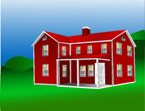 American Farmhouse 1. Similar to the Garrison style house with an ell for extra living space and often with a porch and two chimneys Royalty Free Stock Image