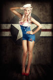 American Fashion Model in Military Pin-up Style Stock Photos