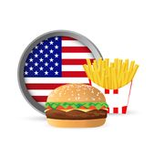 American fast food burger and fries concept. Illustration design isolated over white Royalty Free Stock Images