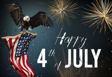 American feast 4th of July. Bald Eagle with American flag. American feast 4th of July, Independence Day. North American Bald Eagle flying with American flag Royalty Free Stock Images