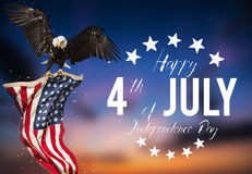 American feast 4th of July. Bald Eagle with American flag. American feast 4th of July, Independence Day. North American Bald Eagle flying with American flag Stock Images
