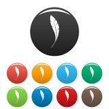 American feather icons set color stock illustration