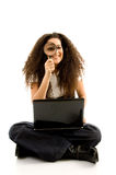 American female corporate sitting with laptop Stock Images