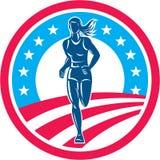 American Female Triathlete Marathon Runner Circle Stock Image