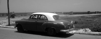 American fifties car. An old American car. Fiftie model. Black and white picture stock image