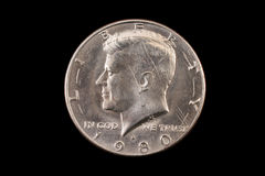 American fifty cent piece on black Stock Photos