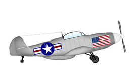 American fighter P-51 Mustang. P-51 Mustang -  American fighter of World War II on white background Royalty Free Stock Image