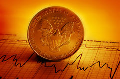 American financial. Silver American dollar with financial graph royalty free stock photo