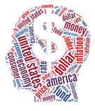American financial concept. Mind thoughts word clouds arrangement. Financial concept Royalty Free Stock Images