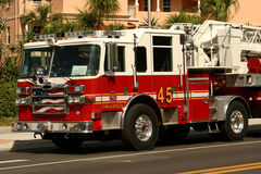 American fire engine. Attending an emergency call royalty free stock photography