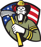 American Fireman Firefighter Emergency Worker. Illustration of an american fireman firefighter emergency worker holding a fire ax set inside shield with stars Stock Image