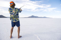 American Fisherman Ice Fishing White Lake Royalty Free Stock Images