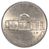 American five cents coin Jefferson Nickel Royalty Free Stock Photos