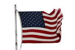 American flag. On the wind on white background stock photography