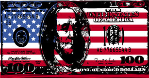 American flag with 100 dollar bill. Vector illustration of 100 dollar bill in black with american flag Stock Images