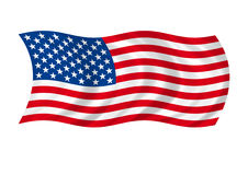 American flag. Flaps on winds Stock Photos