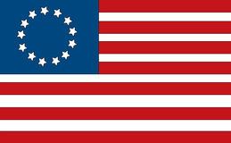 American Flag. First American flag made by Betsy Ross. Has the 13 colonies Stock Photography