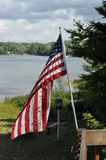 American Flag. Flying in the breeze stock photo