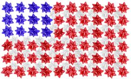 American flag. An american flag made out of red,white and blue bows royalty free stock photo