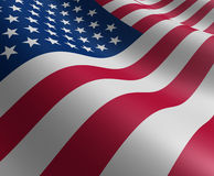 American flag. In motion curving the shape of the stars and stripes representing patriotism and pride Stock Images