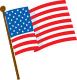 American Flag 2. American flag on a white background with 50 stars Royalty Free Stock Photography