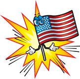 American Flag. An American flag shooting bullets from its fingers Stock Photography