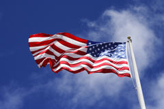 American Flag. The American flag flying high Stock Photo