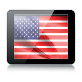 American flag. Tablet icon with american flag Stock Images