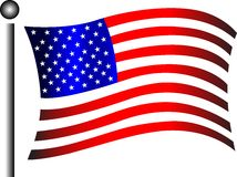 American flag. Waving in the wind Stock Photo