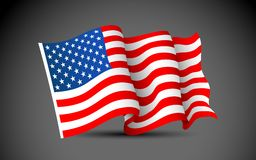 American Flag. Illustration of waving American Flag on dark background Stock Photo