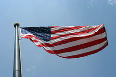 American Flag. Blowing in the wind Royalty Free Stock Image