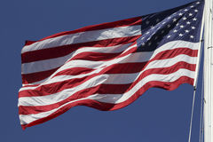 The American Flag. US flag fluttering in the wind Royalty Free Stock Image