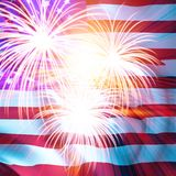American flag. With fireworks on top Royalty Free Stock Image