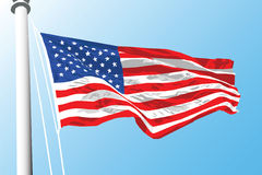 American flag. Illustration of a United States flag waving in the wind Royalty Free Stock Photos