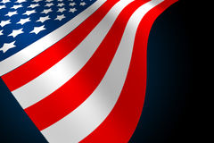 American flag. Flowing on a blue back ground Royalty Free Stock Photography