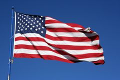 American Flag. An American flag flaping boldly in the wind Royalty Free Stock Photo