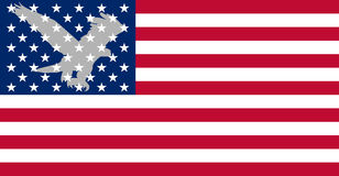 American flag. With silhouette of eagle stock illustration