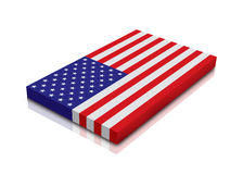American Flag. 3d Render with reflection vector illustration
