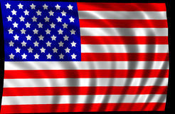 American flag. A picture of the american flag isolated on black background Stock Image