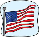 American Flag. This is an inspirational American Flag blowing in the wind Stock Image